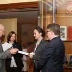 From left to right: Le Premier Président Honoraire de La Cour de Cassation, Guy Canivet              Dr Vivienne Forrest, Academic Director of the FBLS Dr Oana Macovei, Université Tououse1 Capitole Professor Dermot Cahill, Head of Bangor University School of Law